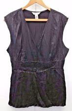 White House Black Market Women's Blouse 100% Silk Black Beaded Sleeveless Top XL