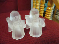 "VINTAGE SET of FROSTED GLASS ANGEL TAPER CANDLE HOLDERS 2 3/4"" TALL"