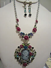 Victorian Look Multi Color Flower Cameo Pendant Silver Tone Necklace Earring Set