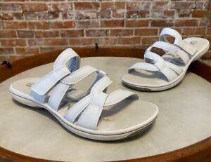 Clarks Brinkley Lonna White Leather Multi-Strap Slide Sandals 10 NEW