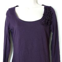Ann Taylor Loft Scoop Neck T-Shirt Knit Top Women Size S Purple Long Sleeve