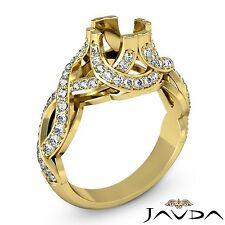 Diamond Engagement Ring Round Semi Mount 14k Yellow Gold Pave Curve Shank 1Ct