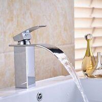 Widespread Chrome Bathroom Waterfall Sink Faucet Single Handle Basin Mixer Tap