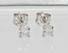 9ct White Gold 0.50ct Princess Cut Ladies Solitaire Stud Earrings