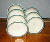 Pfaltzgraff Juniper Cereal Bowls Lot of 7 Mauve Green Bands Excellent!