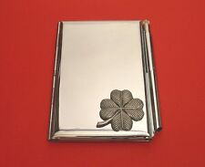 Four Leaf Clover Chrome Notebook / Card Holder & Pen Good Luck Christmas Gift