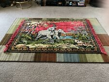 New listing Vintage Large Tapestry Elephant/Tiger Jungle Scene Wall Hanging