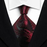 Men's Tie Classic Paisley Red Black JACQUARD WOVEN 100% Silk Tie Necktie F014