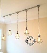 NEW INDUSTRIAL 5 X CAGE HANGING LIGHTS CEILING VINTAGE LAMPS CAFE BARN PUB