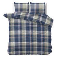 Warm Bettwäsche-Set 2-3 tlg Bettbezug Kissenbezüg Baumwolle Flanell Blau Grau