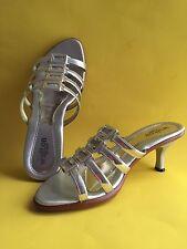 Women's Walton Silver Color Slide Shoe/Sandal 2 inches heels
