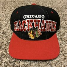 Vintage Starter Nhl Hockey Chicago Blackhawks Black Red Wool Snapback Hat