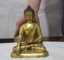 """8"""" Thailand copper Bronze Gild Shakyamuni Amitabha Buddha Sakyamuni Sculpture"""