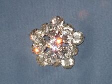 Vintage Signed WEISS Silver-Tone Metal Claw Set Clear Rhinestone Pin Brooch
