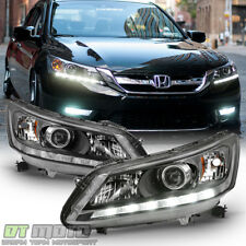 For 2013 2014 2015 Honda Accord Sedan Halogen w/ LED DRL Headlights Headlamps