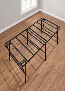 """18"""" High Profile Foldable Steel Bed Frame, Powder-Coated Steel, Twin"""