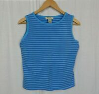 Eddie Bauer Women's Blue Striped Tank Top Shirt Cotton Blend Casual Size Large