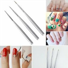3Pcs UV Gel Liner Brush Set Painting Acrylic Handle Manicure Pen Nail Art Tools