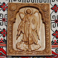 ARCHANGEL MICHAEL WOOD CARVED CHRISTIAN ICON RELIGIOUS WALL HANGING ART WORK