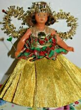 Cute Vintage Christmas Tree Fairy Angel Doll 1950s/60s Gold Xmas Celluloid Dolls
