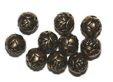 14mm Round Rosebud Antiqued Goltone Metalized Metallic Beads