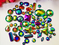 Silver Black 100 Pieces Sew on Gems Mixed Shape Flat Back size 6-40mm has holes