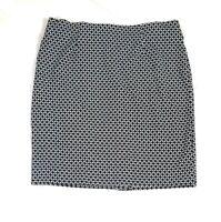 J.Jill Petite Small PS Ponte Pencil Skirt Black White Career Geometric Print