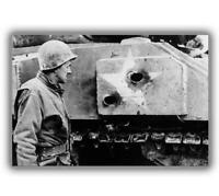 War Photo American soldiers looking at the holes in armor of the M4 Sherman H
