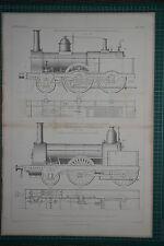 1860 LARGE LOCOMOTIVE PRINT ~ PASSENGER CUDWORTH ASHFORD ~ D. CLARK FAIRBAIRN