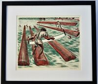 ALFREDO ZALCE 1946 Original HAND SIGNED Color Lithograph THE MEXICAN PEOPLE