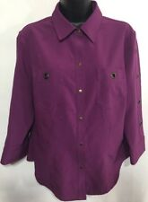 Kathy Che Women's 3/4 Sleeve Stretch Purple Blouse  Snap On Details Size 10 🌷