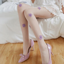 Women Summer Stockings Tights Thin Nylon Floral Shaped Pantyhose Embroidered JD