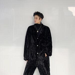 2Pcs Mens Long Sleeves Loose Style Shiny Velvet Lapel Collar Shirt Long Trousers