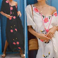 Womens Ladies Plus Size Floral V-neck Beach Dress Maxi Long Party Split Sundress