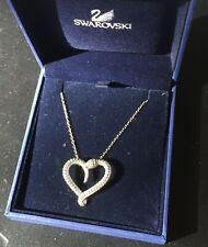 Swarovski SNAKE 🐍 Heart Pave CRYSTAL PENDANT RHODIUM NECKLACE Swan Signed NIB