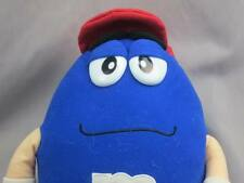 BIG M&M CHOCOLATE CANDIES BLUE POSEABLE LEGS RED CAP SILLY GRIN PLUSH STUFFED