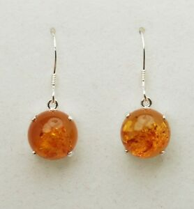 Amber 10mm Round Dangle Earrings - Sterling Silver