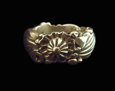 Sterling Silver Flower and Feather Band Ring - Navajo Handmade