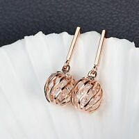 18k rose gold gf made with SWAROVSKI crystal ball filigree stud dangle earrings