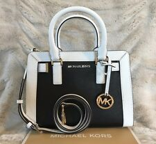 NWT MICHAEL KORS LEATHER DILLON TOP ZIP SMALL SATCHEL BAG IN BLACK/WHITE