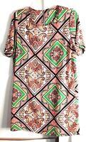Pronto USA Womens Dress Short Sleeve Vintage Print Orange/Green Size M Mod
