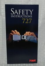 TWA BOEING 727 SAFETY INSTRUCTIONS CARD EXCELLENT CONDITION NOS