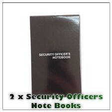 2x Security Officers Notebook Book Lined Paper Margin Black Small Compact Pocket