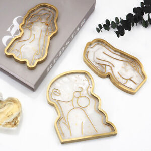 DIY Epoxy Crystal Tray Silicone Mold Girl Body Abstract Plate Mirror Tray MoFY