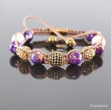 Damen Lava Rock Lila Impression Edelstein Perlen Shamballa Armband für Frauen