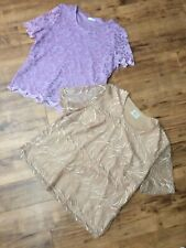 2 PERFECT EASTEX SHORT SLEEVE LACE TOPS, GOLD 16,LILAC 12 - SEE PHOTOS
