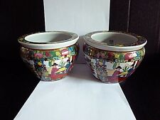 """CHINESE FAMILLE ROSE FISH BOWLS SET  BONE PORCELAIN MULTICOLOR 5""""TALL X 6""""WIDE"""