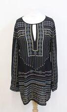 BCBG MAX AZRIA Ladies Black Printed Keyhole Scoop Neck Shift Dress Approx. M