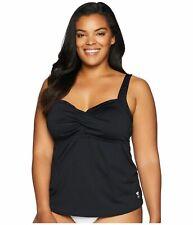 $145 TYR Women Black Stretch Performance Tankini Bra Swim Swimsuit Plus Size 22W