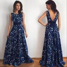 Ladies Women Floral Long Formal Prom Dress Party Ball Gown Evening Maxi Dresses Blue XL